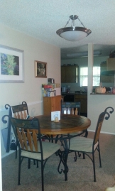 A cleaner version of the dining area (the tea has to sit on the storage cabinet - no room elsewhere.