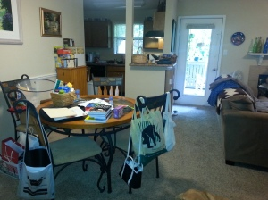 Messy Dining Area - AKA Where you drop whatever is in your hand