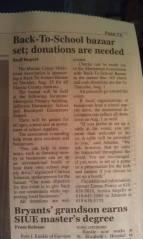 Newspaper article to encourage support of back-to-school bazaar