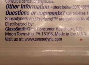 Back of the Sensodyne tube