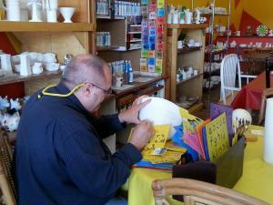 Jim working on his ceramic bowl