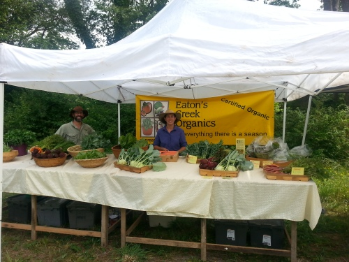 Eaton's Creek Organics Farmers' Market Booth