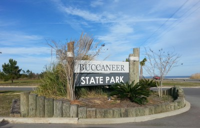 Entrance to campground where we stayed in MS; the Gulf Coast is across the road.